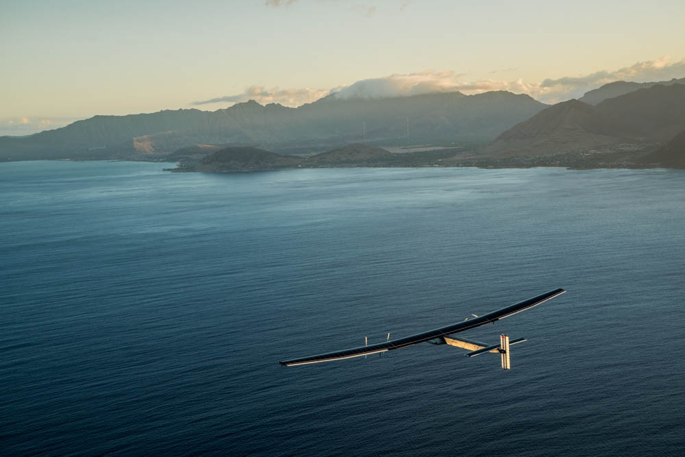 Hawaii, USA, April 21st 2016: Solar Impulse took off from Kalaeloa Airport attempting to complete the pacific and land on the North American continent. Departed from Abu Dhabi on march 9th 2015, the Round-the-World Solar Flight will take 500 flight hours and cover 35'000 km. Swiss founders and pilots, Bertrand Piccard and André Borschberg hope to demonstrate how pioneering spirit, innovation and clean technologies can change the world. The duo will take turns flying Solar Impulse 2, changing at each stop and will fly over the Arabian Sea, to India, to Myanmar, to China, across the Pacific Ocean, to the United States, over the Atlantic Ocean to Southern Europe or Northern Africa before finishing the journey by returning to the initial departure point. Landings will be made every few days to switch pilots and organize public events for governments, schools and universities.
