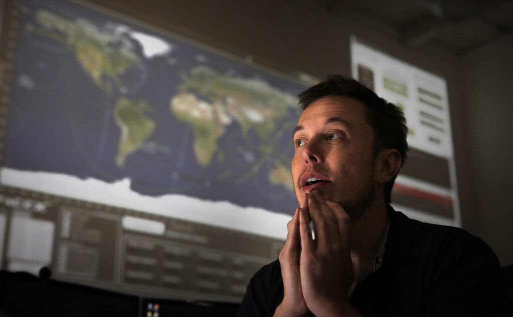 CEO Elon Musk in the mission control room at the Hawthorne, California-based Space Exploration Technologies Corp., on April 19, 2012. If successful, it will be the first time a private company will dock with the International Space Station. The launch is scheduled for Saturday, May 19, 2012. (Brian van der Brug/Los Angeles Times/MCT) ORG XMIT: 1122559